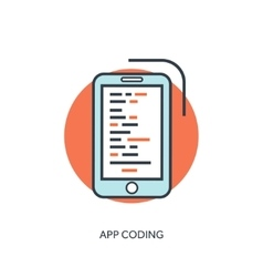 Flat lined document with app code coding and vector