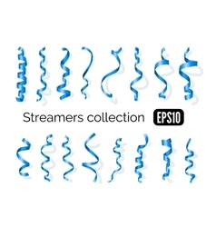 Collection of blue streamers and party ribbons vector
