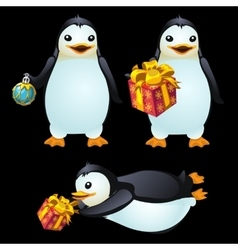 Three fun penguins with christmas ball and gifts vector