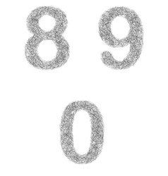 Furry sketch font set - numbers 8 9 0 vector
