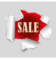 Red background sale tag with exploding hole and vector