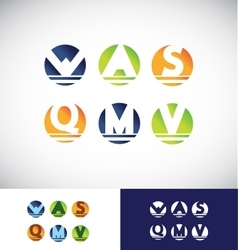 Circle sphere alphabet letter logo icon set vector