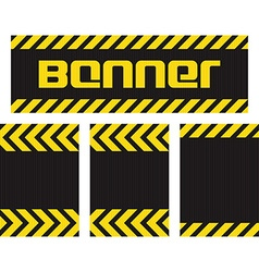 Banner with horizontal yellow and black lines on vector