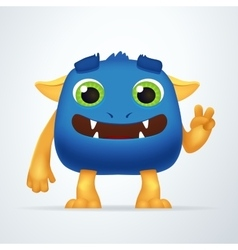 Funny blue and yellow cartoon alien monster vector