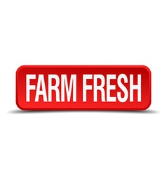 Farm fresh red 3d square button isolated on white vector
