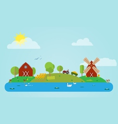 Flat countryside vector