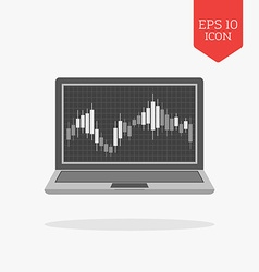 Laptop with candlesticks chart on screen icon vector