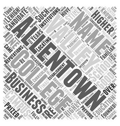 Allentown business school word cloud concept vector