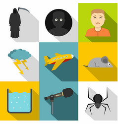 Anxiety and stress icon set flat style vector