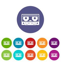 Audio cassette tape icons set flat vector