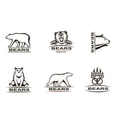 bear emblem set vector image
