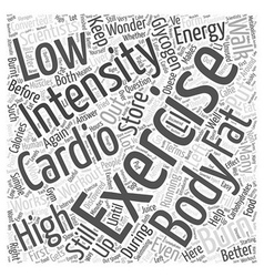Cardio exercise word cloud concept vector