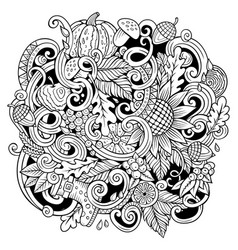Cartoon cute doodles hand drawn autumn vector
