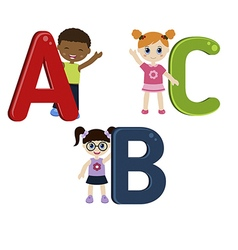 Children with ABC vector image vector image