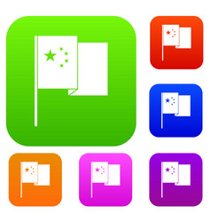 china flag set color collection vector image vector image