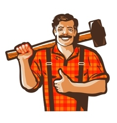 construction worker logo workman laborer vector image