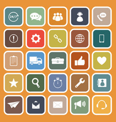 customer service flat icons on orange background vector image vector image