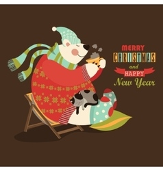 Cute bear celebrate Christmas vector image vector image