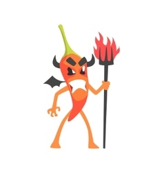 Devil red hot chili pepper humanized emotional vector