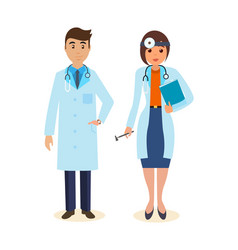 Doctor surgeon in gown ent with tools vector