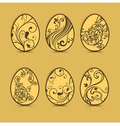 easter eggs brown patterns 10 v vector image vector image
