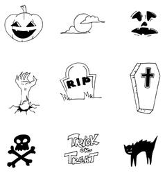 Element doodle art halloween vector