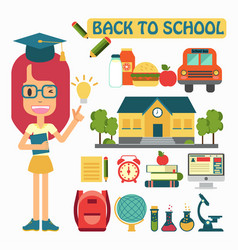 flat design back to school concepts vector image vector image