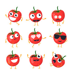 Funny tomato - isolated cartoon emoticons vector