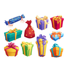Gift box icon of present packaging with ribbon bow vector