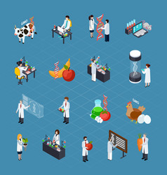 gmo related isometric icons set vector image