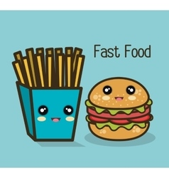 Icon cartoon burger fries design vector