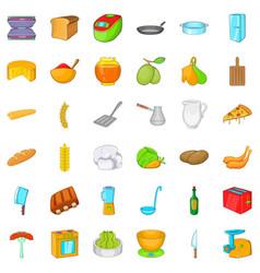 Kitchen icons set cartoon style vector