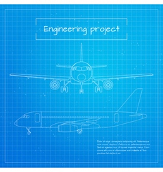 Plane engineering aircraft blueprint background vector