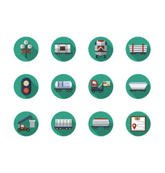 railroad cars flat round icons set vector image vector image