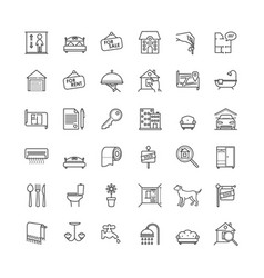 Real estate related outline icons set vector