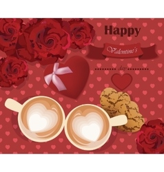Romantic roses love two coffee cups on red hearts vector