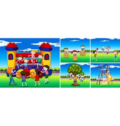 Scenes with children in the playground vector image