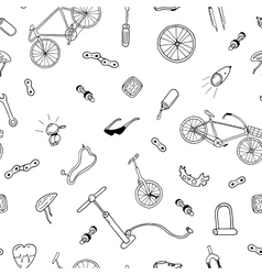Seamless pattern in doodle stylebicycle vector