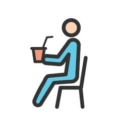 Sitting man drinking soda vector