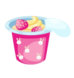 strawberry yogurt vector image