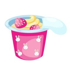 Strawberry yogurt vector