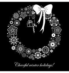 Stylized christmas wreath from snowflakes vector