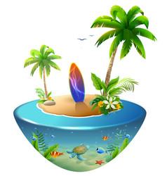 surfboard on tropical island paradise beach of vector image vector image