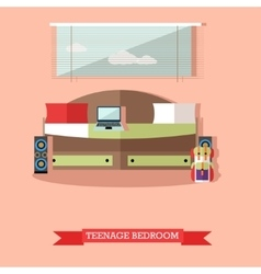 Teenager bedroom interior objects in flat style vector image vector image