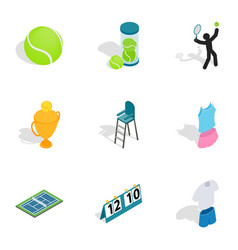 tennis equipment icons isometric 3d style vector image vector image