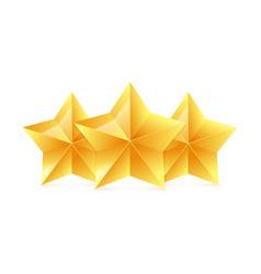 three 3d gold stars on white background victory vector image vector image