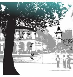 tree silhouette street scene vector image vector image
