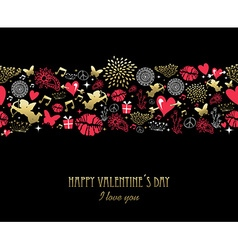 Valentines day greeting card pattern gold pink vector