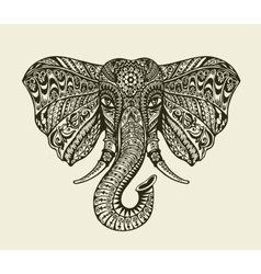 Vintage graphic indian elephant Floral pattern in vector image