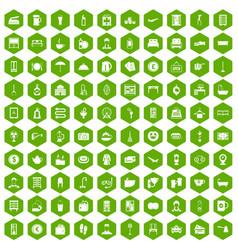 100 inn icons hexagon green vector